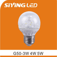 CE RoHS China siying led G50 3W 4W 5W E27 LED Bulb