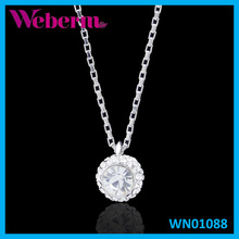 Liquid silver delicate diamond necklace crystal ball jewelry pendants jewelry