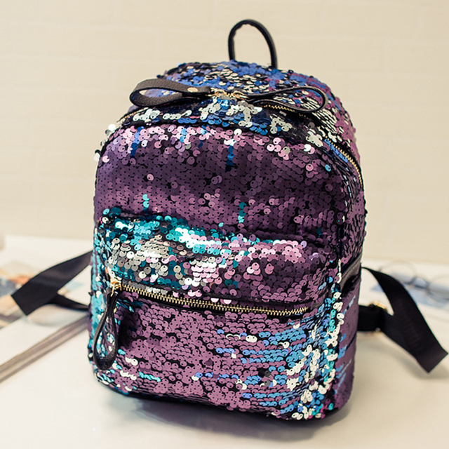 2018 Hot Sale Wholesale Fashion Citi trends School Teenager Girls Women Shiny Sequined Mini Backpack Bag