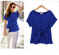 Summer new round neck chiffon shirt short-sleeved T-shirt bow tie chiffon shirt