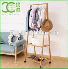 Multifuctional Garment Laundry Rack with 4 Coat Hooks 2-tier Shoe Clothes Storage Shelves Bamboo Wooden Coat Rack Stand