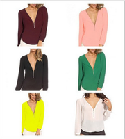 wholesale cheap women sexy v-neck longsleeve tshirt 6 colors chiffon blouse for ladies