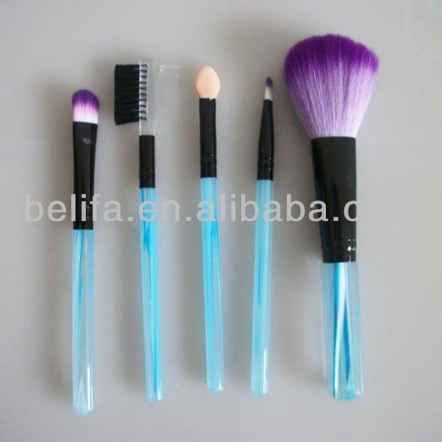 Plastic handle 5pieces makeup brushes sets medium quality cheap price