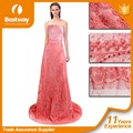 Lastest polyester lace fabric french net lace for big party with luxurious beads and stones FL0247