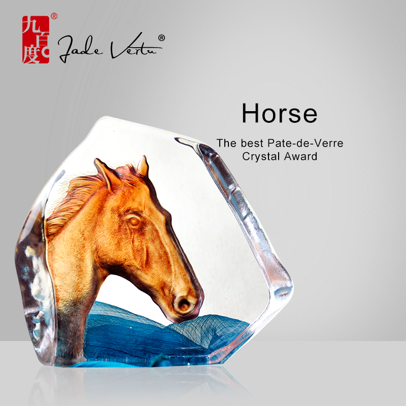 Color Glazed Crystal Horse Trophy Horse Awards for Company Gifts