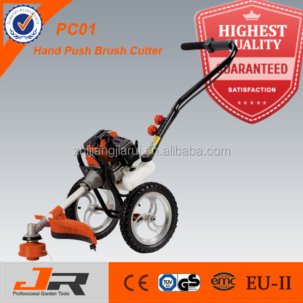 Popular 43cc hand push lawn mover/brush cutter with wheels