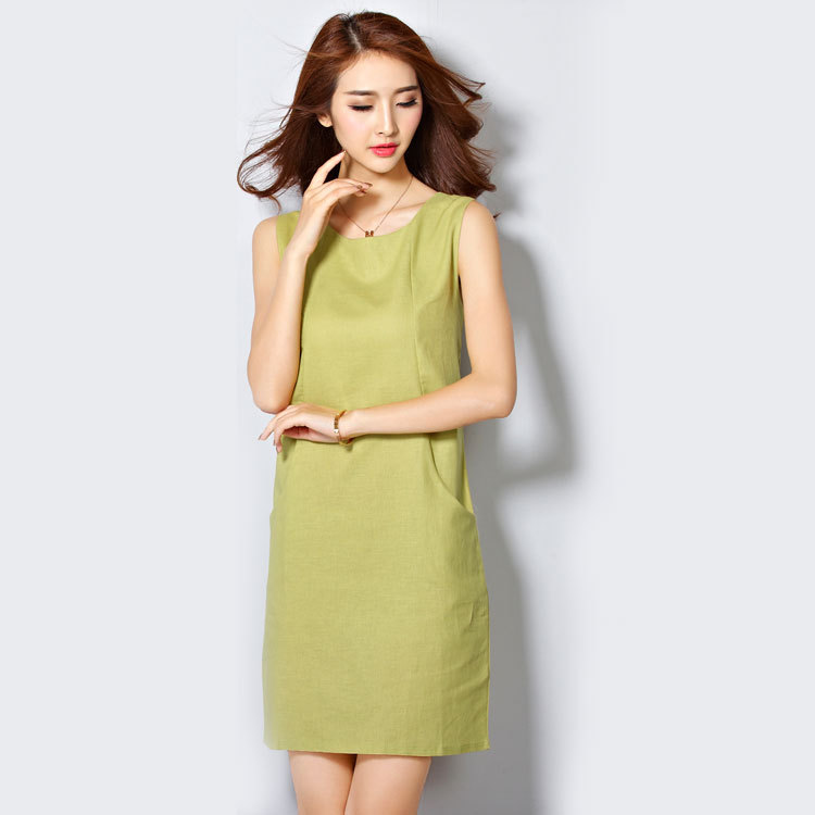 Summer Style Casual Plus size XXL  dress women 2015  Linen Office Lady work dresses knee length vestidos casuales de mujer
