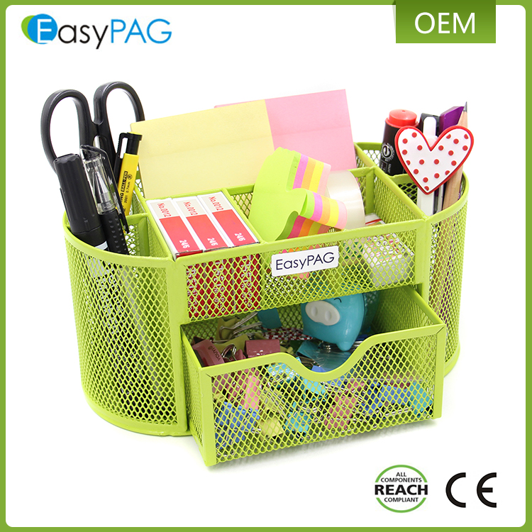 New design hot sale colorful power coated wire mesh office desk supplies organizer