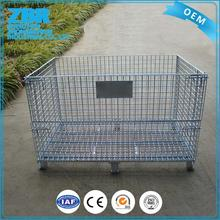 Collapsible steel mink wire mesh storage pallet cage with wheels