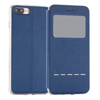 Caller ID Display PU Leather Phone Cover For iPhone 7, For Slide iPhone 7 Viewport Case