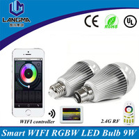 AC85-265V 2.4G RF WIFI mobile phone control 9w mi.light smart wifi led bulbs, e27 led light bub