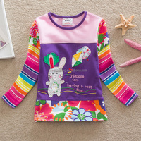 2-6Y (65536#Blue and Pink )Hot sell high quality export russia popular bunny appliqued baby girl tshirt kids wear