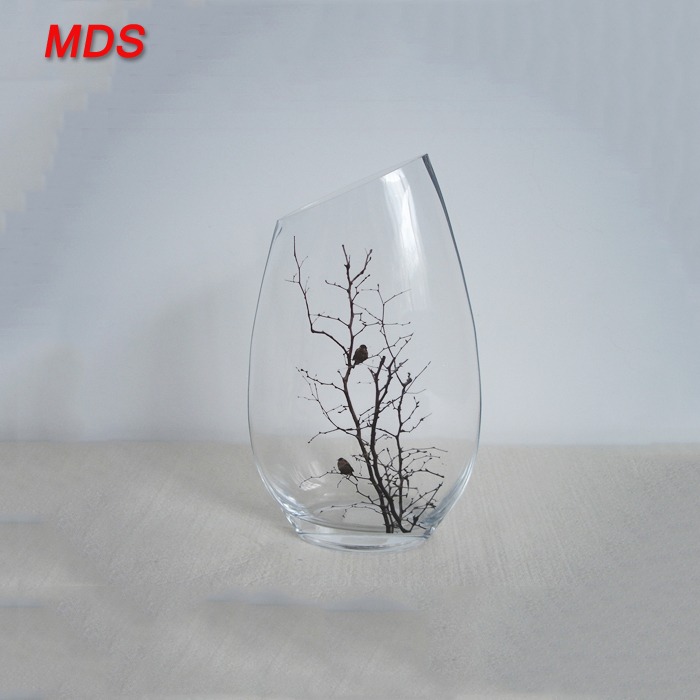 Decorative Decal Clear Glass Vase Manufacturers With Tree Decal