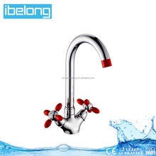 B7002878CR-M7118 Deck-mounted Russian Market Red Double Handle Kitchen Zinc Alloy Faucet