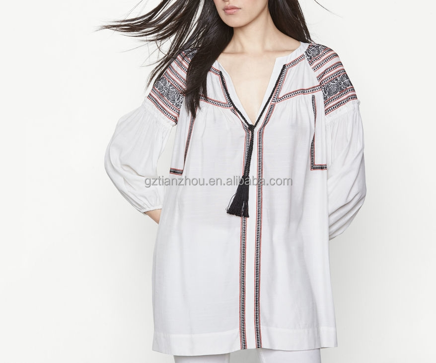 Guangzhou clothing apparel OEM 100% Cotton V-neckline Flared cut long sleeves chic ethnic-style Embroidered tunic with tassels