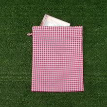 26 cm by 34 cm gingham pink checked kids storage small cotton drawstring bag