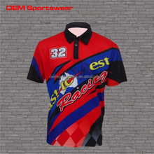 Pit crew sublimation t shirt motocross team shirt motocross