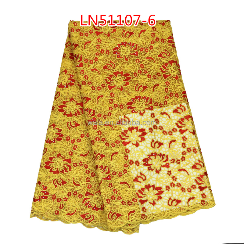 Embroidery Technics African LN51107-6 yellow+red multicolor french/net/tulle Lace fabric for garment