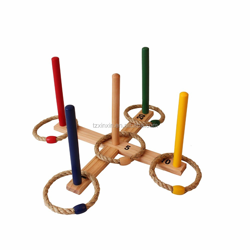 Wooden rope ring toss game for outdoor family game ,games for kids