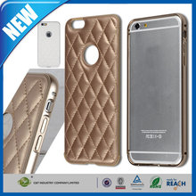 "C&T Aluminum Metal Frame & Genuine Leather Dual Layer Hybrid Bumper Rear Case Cover for Apple Iphone 6 (4.7 "")"