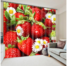 Curtain Fresh Fruit Design Blackout Blind Office Living Room 3D Polyester PVC Fabric Shower Sheer Window Curtain