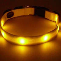 Adjustable Yellow Lights 2016 Amazon Hot Selling LED Dog Collar Light Rechargeable for Medium Dog Easy to Replace Batteries