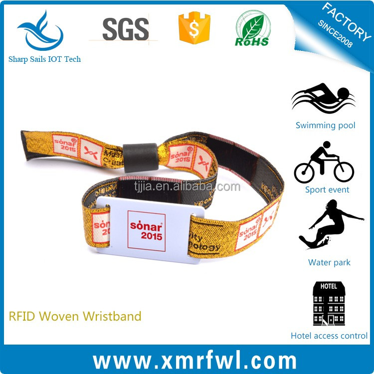 Promotional printing QR code rfid bracelet / woven wristband for event