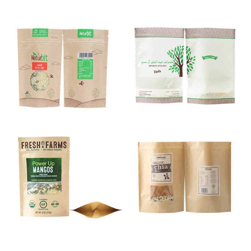 customized Zipper Top starbucks kraft paper bag factory