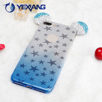 Luxury soft glittery case tpu diamond printing case for iphone 7