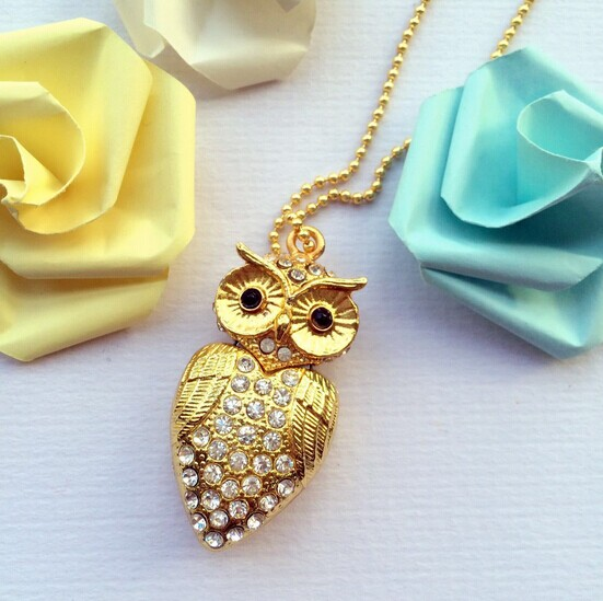 jewelry owl USB flash drive gold/silver color with keychain