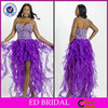 EDC036 Fabulous Bling Crystal Bodice High Low Ruffle Cocktail Dress for Fat Women