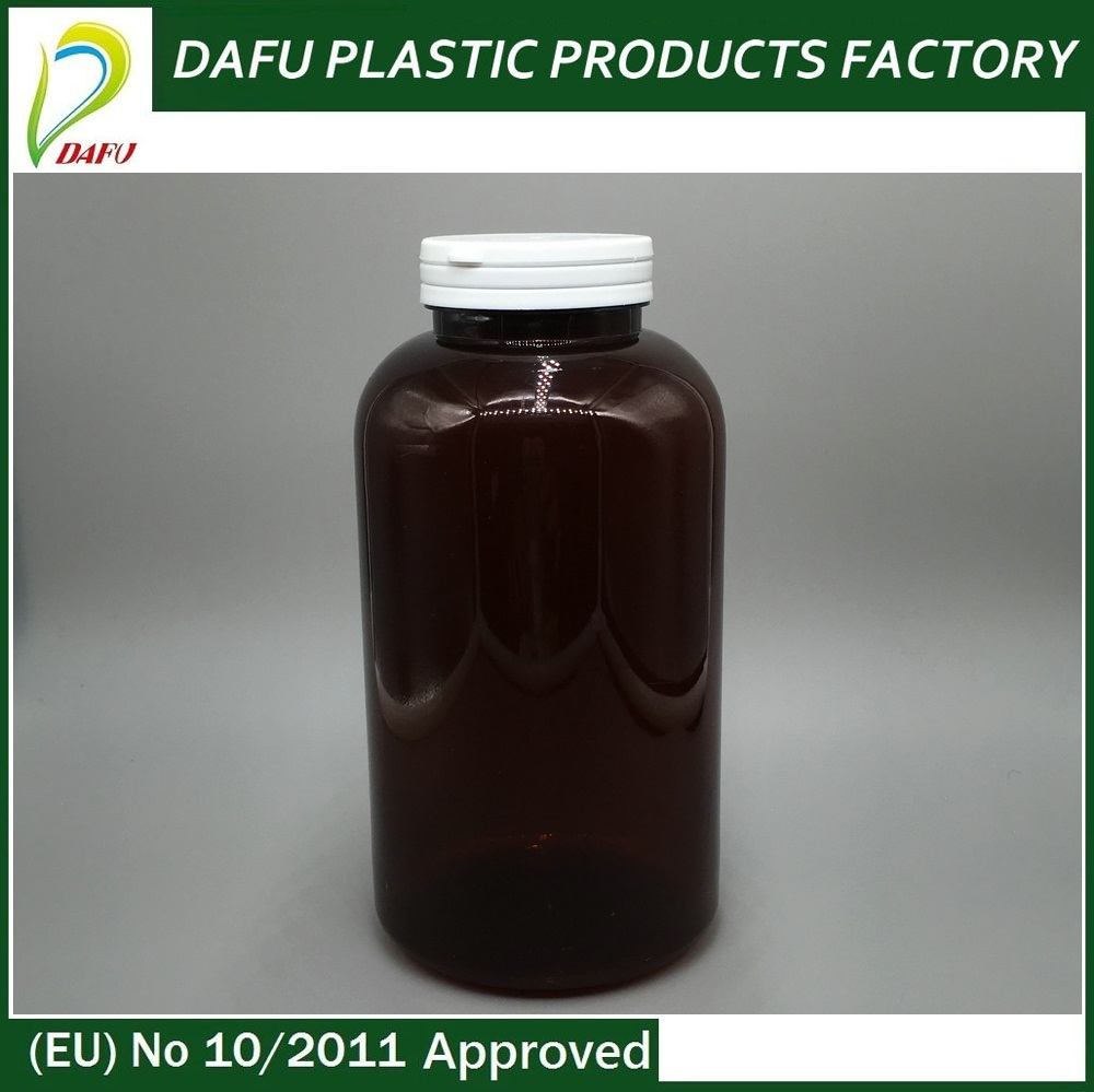 Best selling dark brown 950ml tearing cap plastic medical bottle