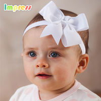 Cheap custom infant baby bow headband 100% polyester baby girl headband