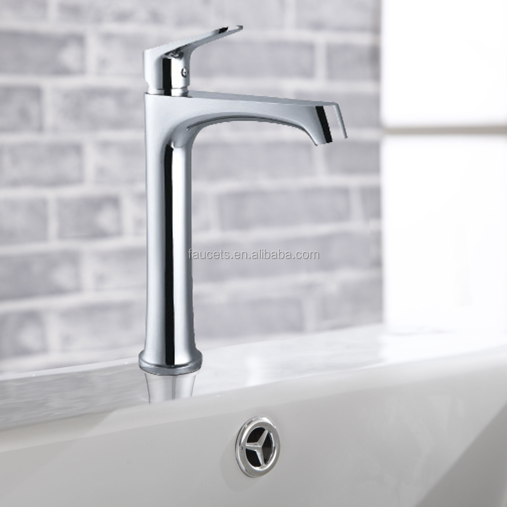 Factory Direct Chrome Plated Long Neck Bathroom Sink Water Faucet