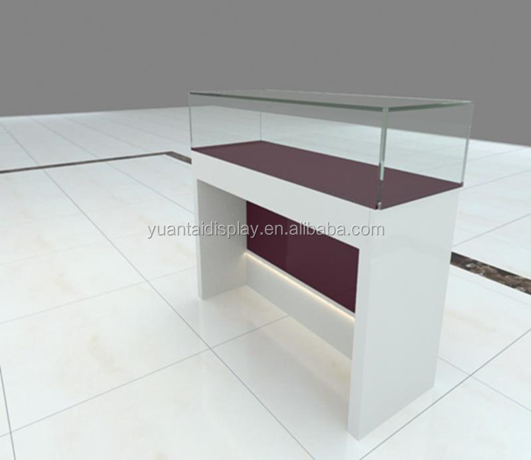 formica fire-proof ultra white glass display showcases/mall jewelry kiosk