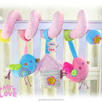 Factory Little Bird Designs Infant Baby Bed Hanging Plush Toy Squeaky Toys