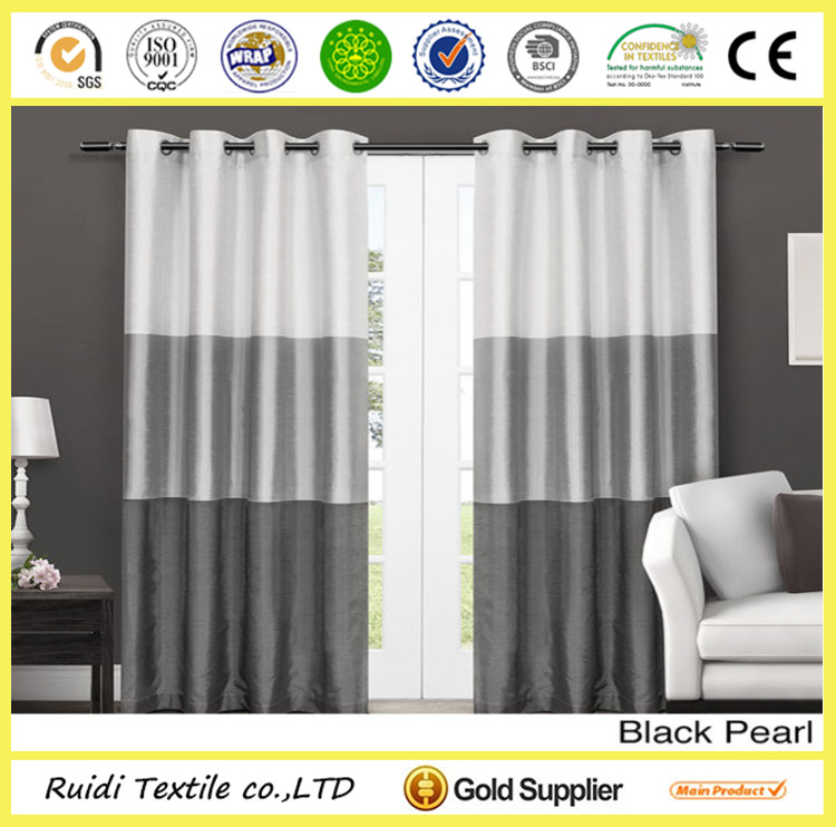 Horizon Stripe Faux Silk Curtain Grommet Stripe Curtain for Home Hotel