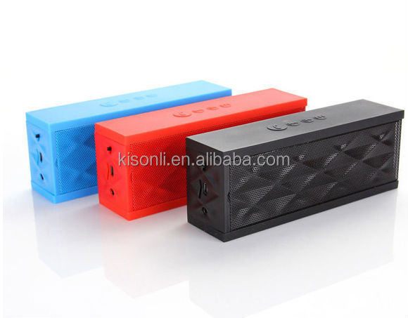 High Quality Jambox style mini portable wireless bluetooh BT3.0 Speaker with Rechargeable Battery with Handsfree Mic