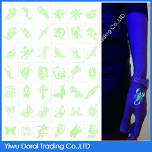 For Adult and Kids Temporary Tattoo Sticker Metallic Temporary Glow in the Dark Body Tattoo