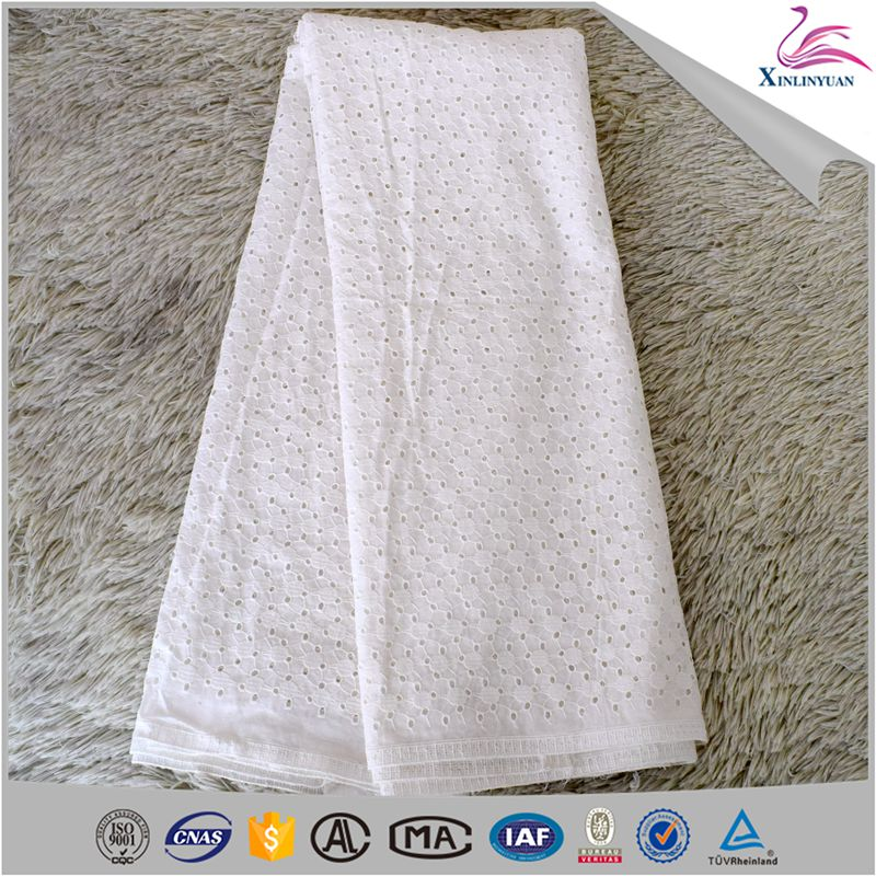 Environmental voile white cotton lace fabric