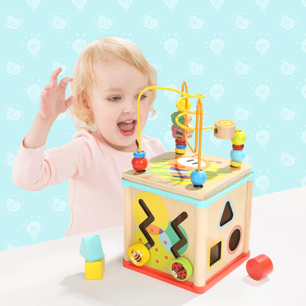 12 months activity cube baby use megge shape and sort board 8 colours plywood educational toys <strong>kids</strong>