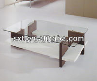 2015 bazhou hot sale wooden coffee table with glass top modern design