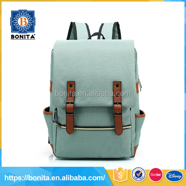 Customized boys teenager outdoor light green canvas bag school 2016 backpack