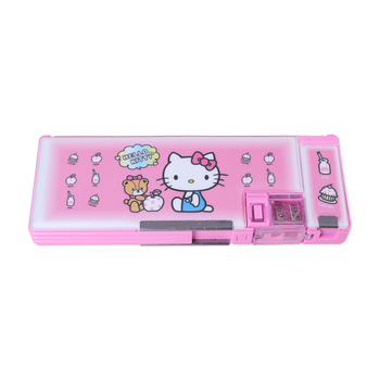 TOPSTHINK 2019 new Hello kitty multifunction pencil case with magnetic switch