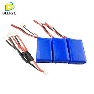 3PCS 7.4V 1100mAh Lipo Battery For WLtoys A949 A959 A969 A979 S989 V912 T23 T55 F45 With Conversion Cable