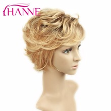 Hanne Orange Blonde Synthetic Hair Wigs Short Ombre Curly Hair Wigs For White Women Fashion Design Wigs Natural looking