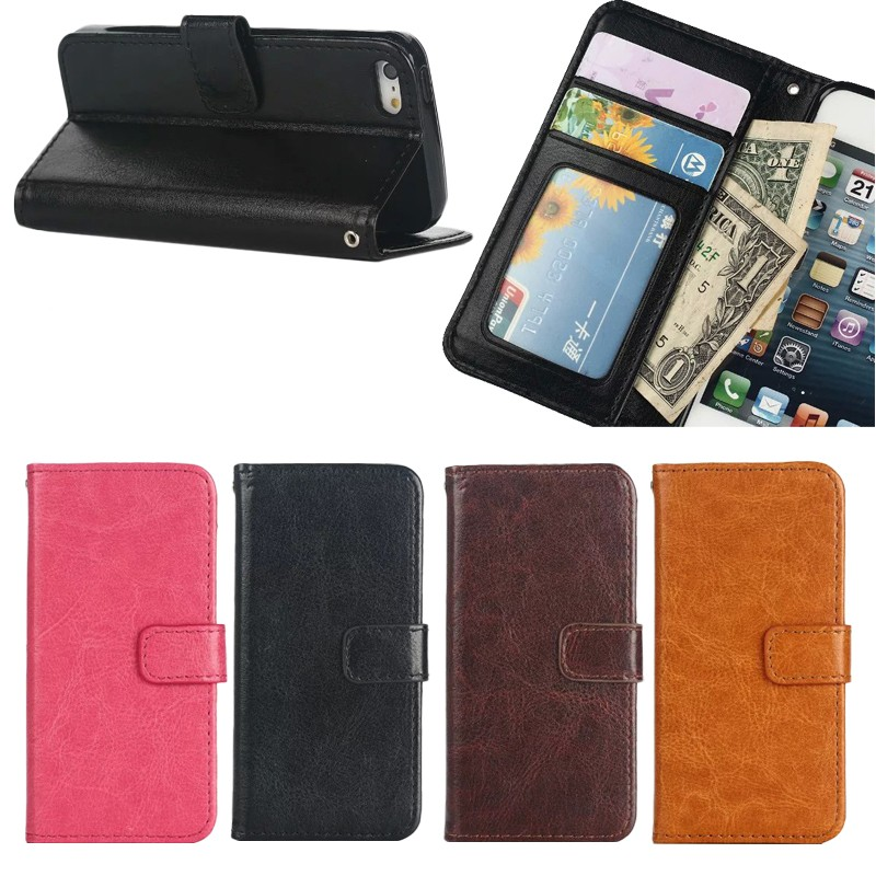 High Quality Leather Flip Wallet Card Slots Case for iphone SE , for iphone 5 se phone case