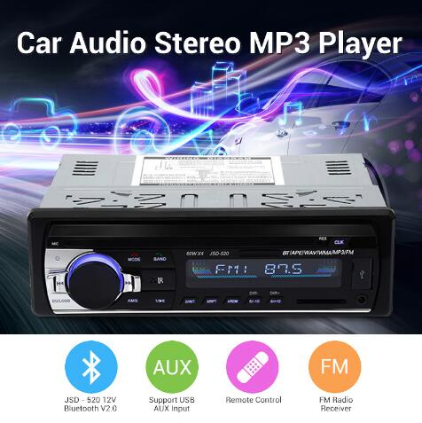Bluetooth V2.0 Car Radio Stereo Audio MP3 Player 12V In-dash Single 1 Din FM Receiver Aux Receiver USB SD Remote Control