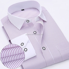 2016 Mens Work Shirts Long Sleeve Striped Twill Male Shirts White Men Shirts