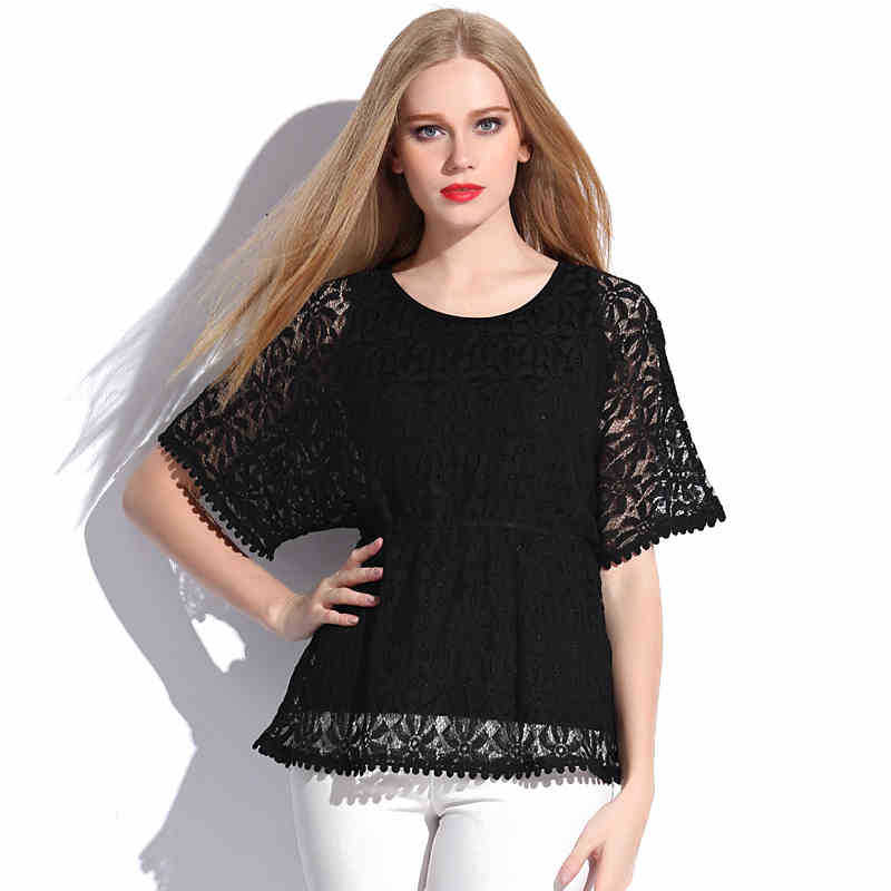 Classic Tees Floral Lace Solid Black T-Shirts Plus Size Women Loose Cotton T-Shirt 2015 Summer New Fashion Casual Tops L 5XL 6XL